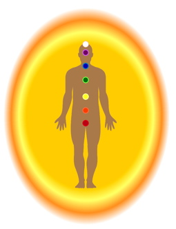Image: male with 7 chakras & yellow-orange aura.