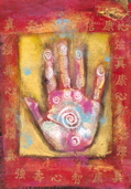 Spiritual Art: mystical symbols on healing hand.